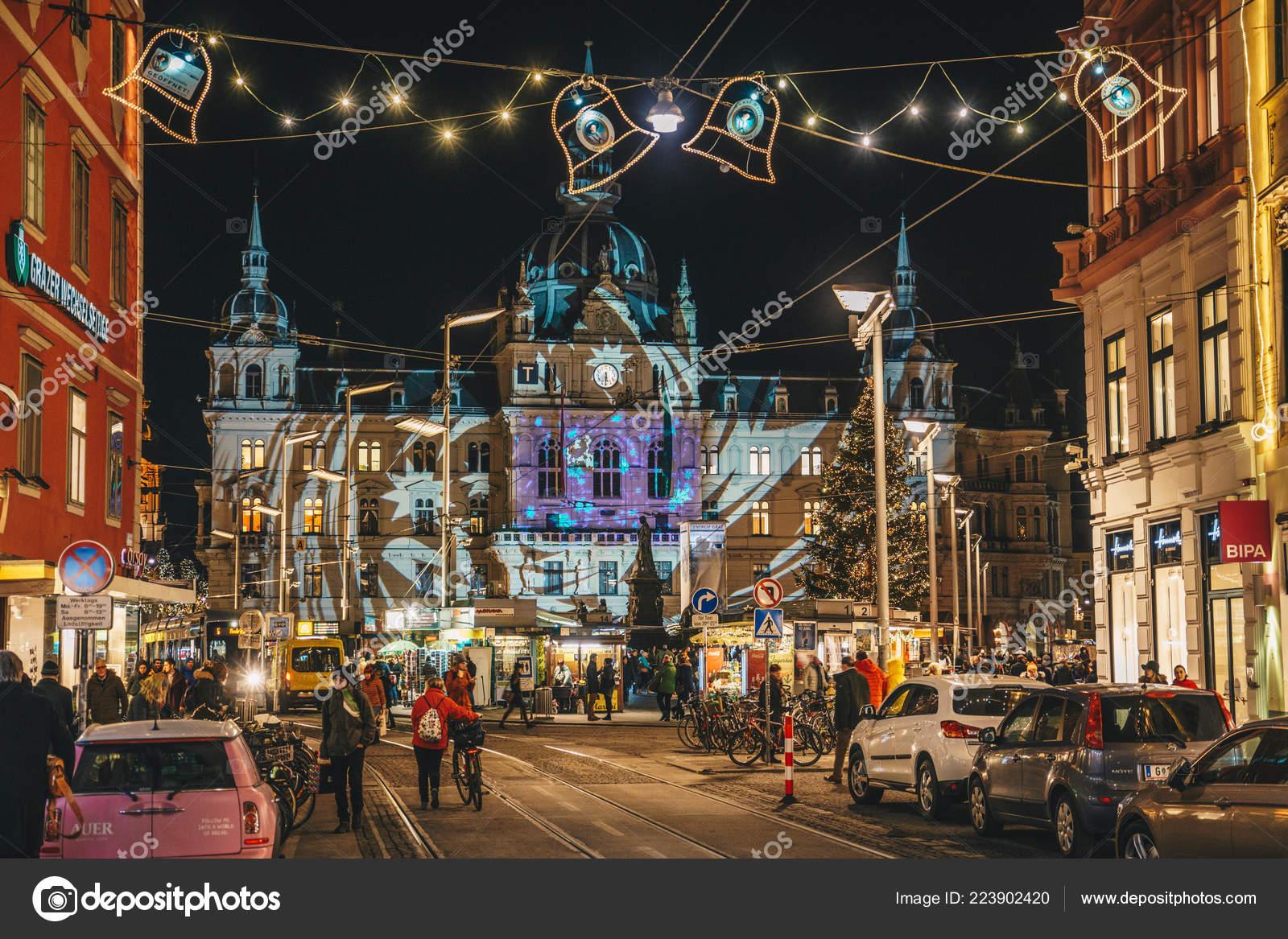 Christmas In Austria Holidays.Graz Austria December 2017 Christmas Decorated Town Graz