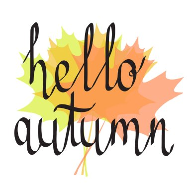 hello autumn hand drawing lettering words on color autumn maple leaves, stock vector illustration
