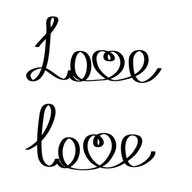 Hand writting word love lettering on white for your design, stock vector illustration