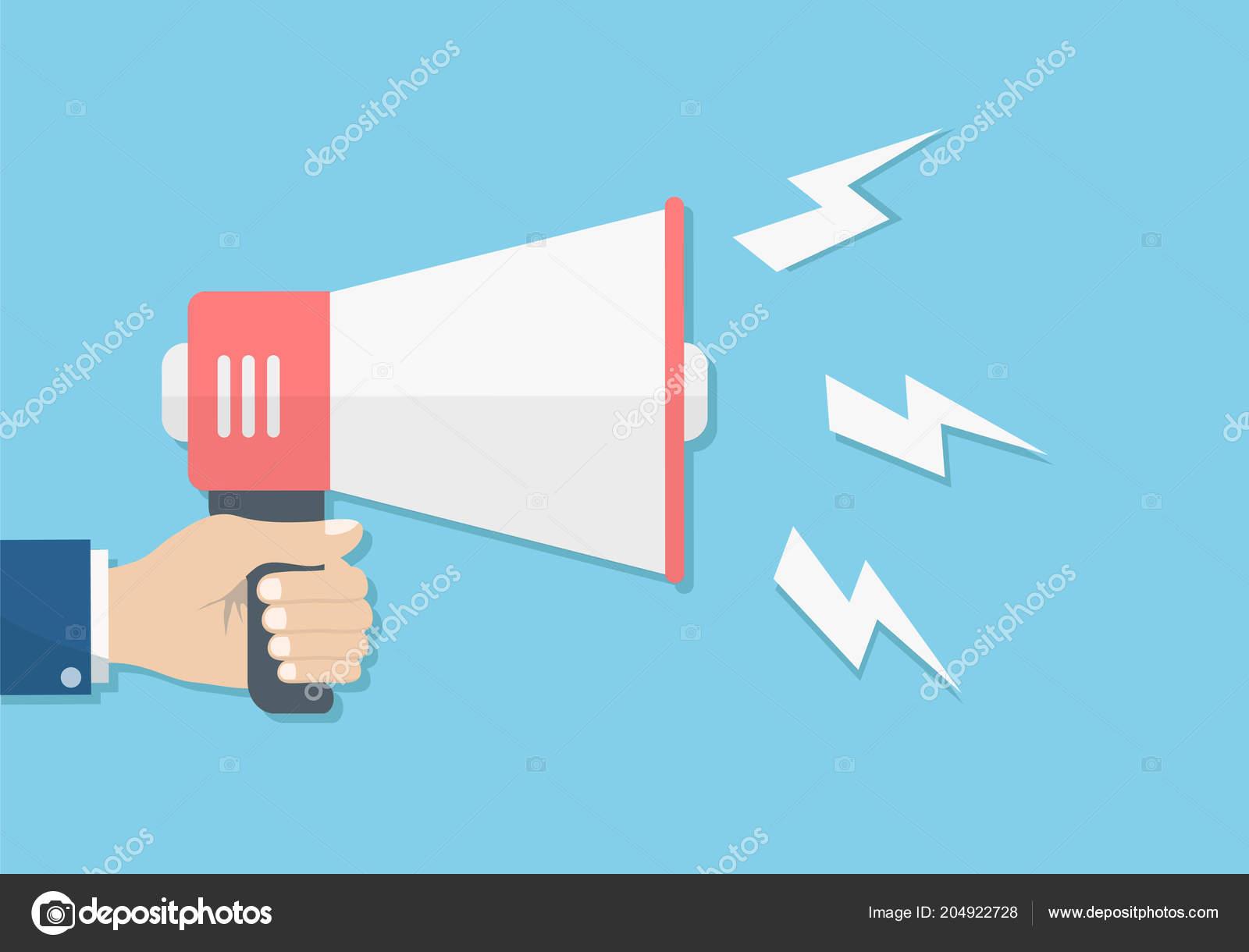 hand holding loudspeaker megaphone sound promotion announcement concept stock vector stock vector c vovanivan 204922728 https depositphotos com 204922728 stock illustration hand holding loudspeaker megaphone sound html