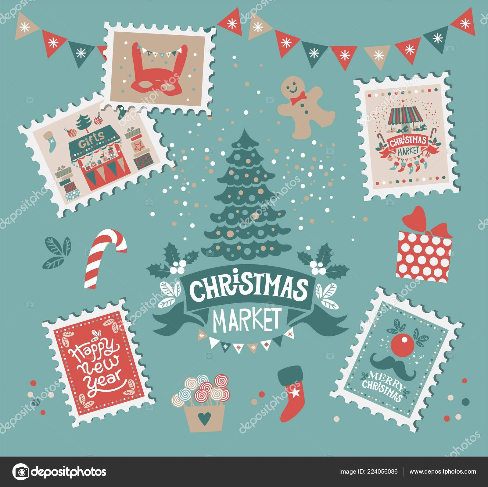 merry christmas happy new year set stamps christmas elements christmas stock vector - Merry Christmas And Happy New Year
