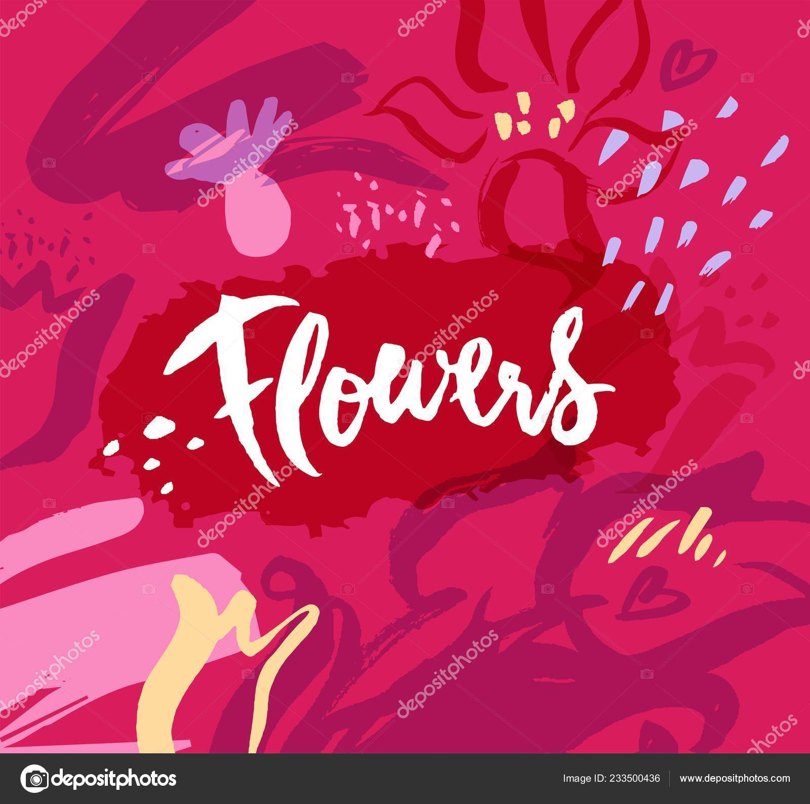Patrón Floral Abstracto Con Texturas Dibujadas Mano Letras
