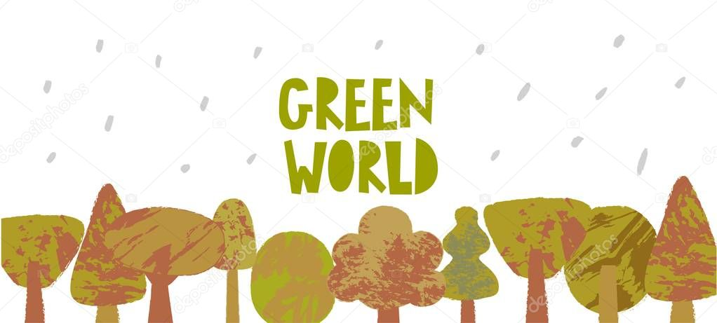 Green world vector poster template