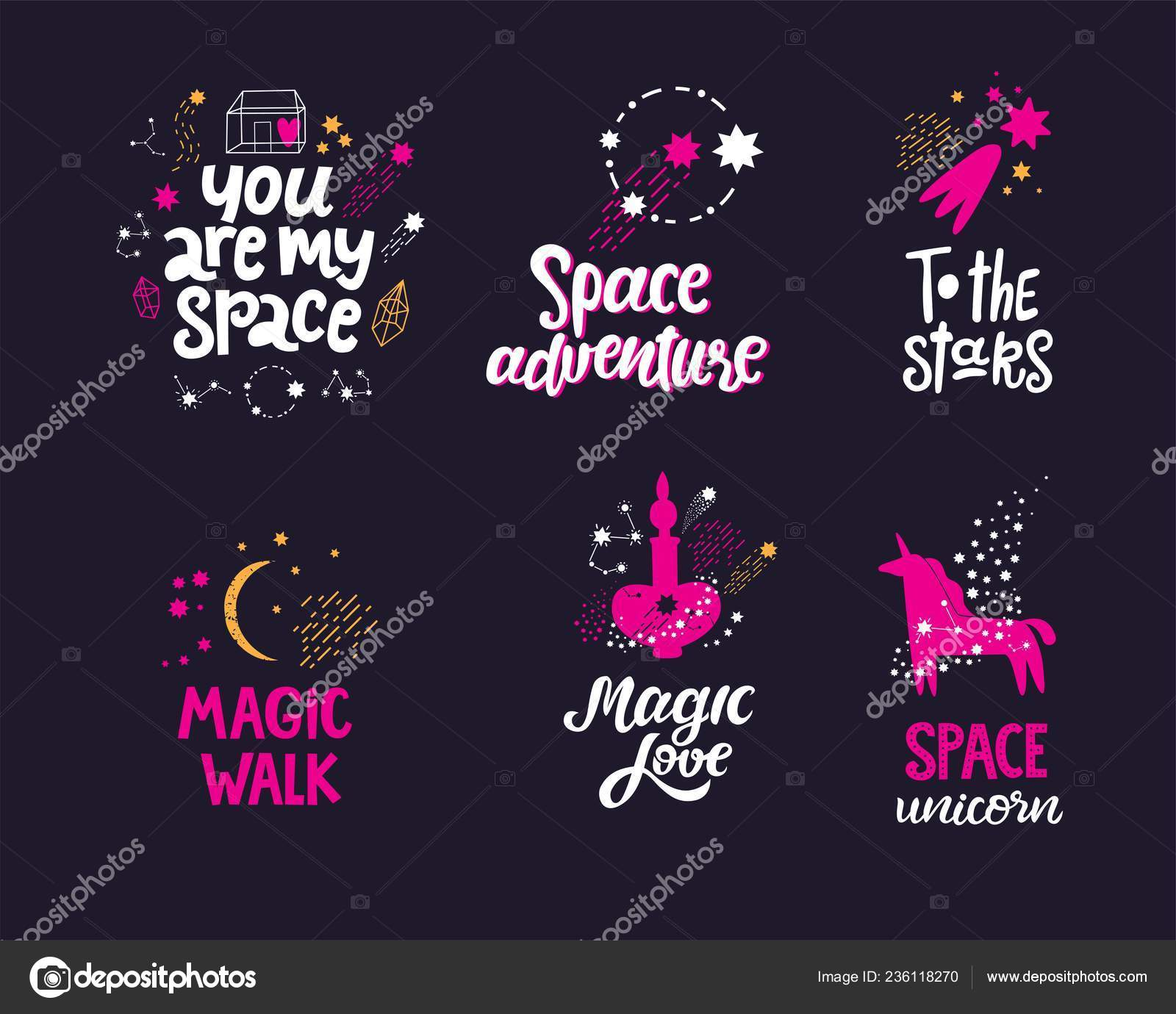 Space hand drawn lettering quotes — Stock Vector © svetichch ...