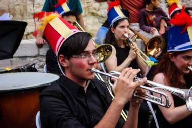 Jerusalem Israel May 10, 2018 The celebrations of the Middle Kingdom of the Golden Tooth Festival at the Old city of Jerusalem, View of the musicians of the avant-garde orchestra playing a music concert in the evening