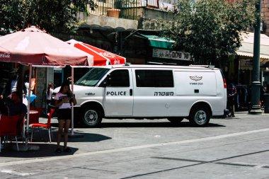 Jerusalem israel June 08, 2018 View of Israeli police car in Jaffa street in Jerusalem in the morning