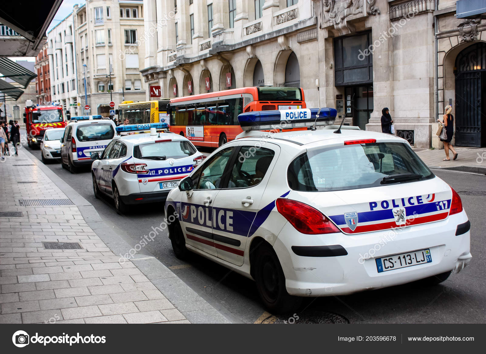 Reims France July 2018 View French Police Car Parked Street Stock