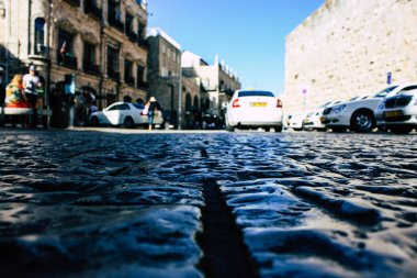 Jerusalem israel June 09, 2018 View of the street of the old city of Jerusalem from the ground level in the afternoon