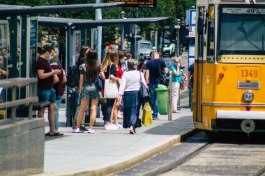 Budapest Hungary july 13, 2020 View of unidentified people taking the electric tram, part of the public transport system of Budapest, the capital of Hungary