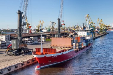 Sankt-Peterburg/ Russia- Jun 01,2019:The ship is moored at the berth of a cargo port in St. Petersburg, Russia