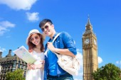 Photo couple with   map  traveling  to London