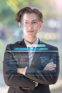 Asian businessman using the concept of face recognition.