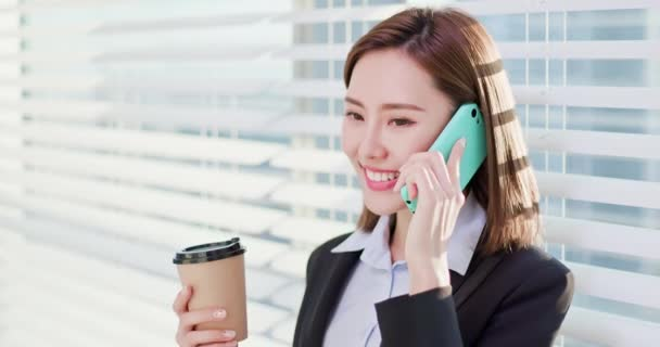 business woman speak phone