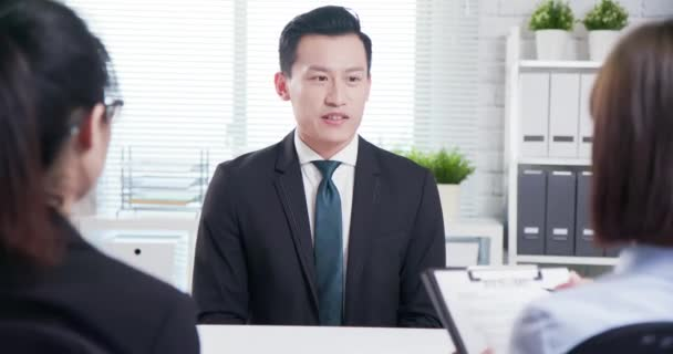 Asian man in job interview