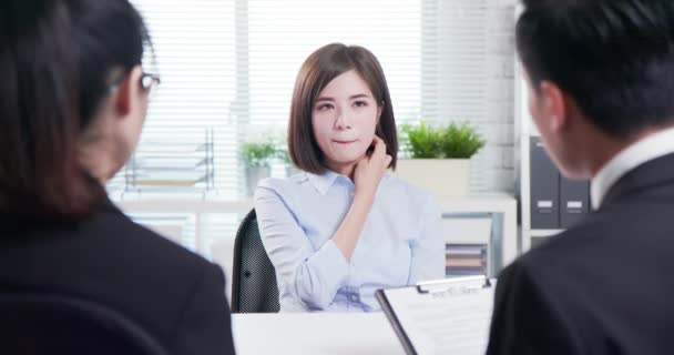 Asian woman in job interview