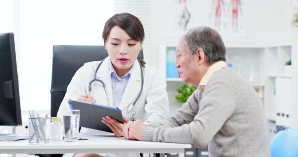 Female doctor see elder patient