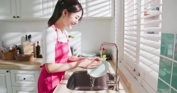 Asian housewife wash dishes