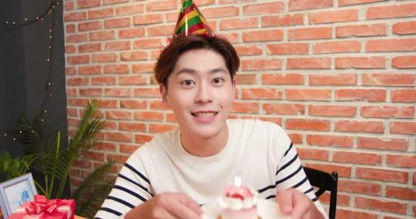 man celebrating birthday online