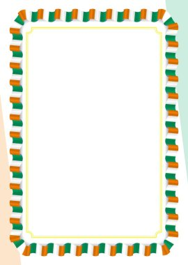 Frame and border of ribbon with Ivory Coast flag, template elements for your certificate and diploma. Vector.