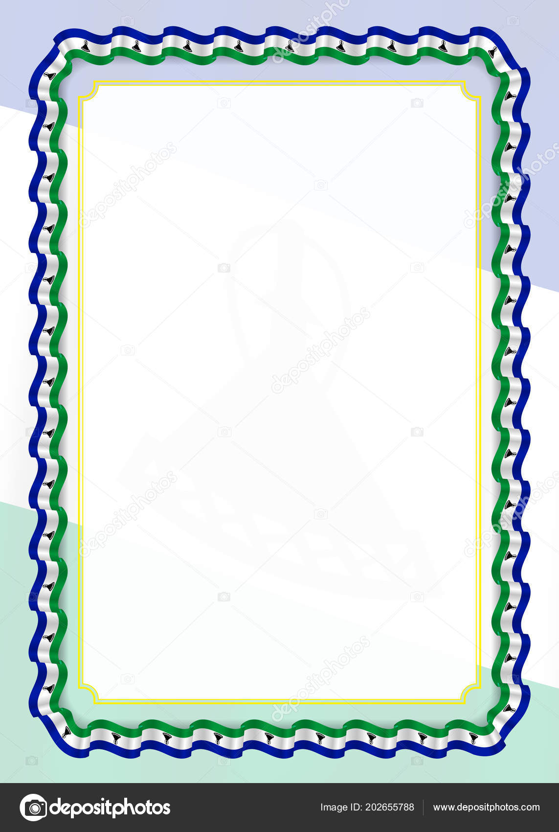 Flag Template | Frame Border Ribbon Lesotho Flag Template Elements Your Certificate