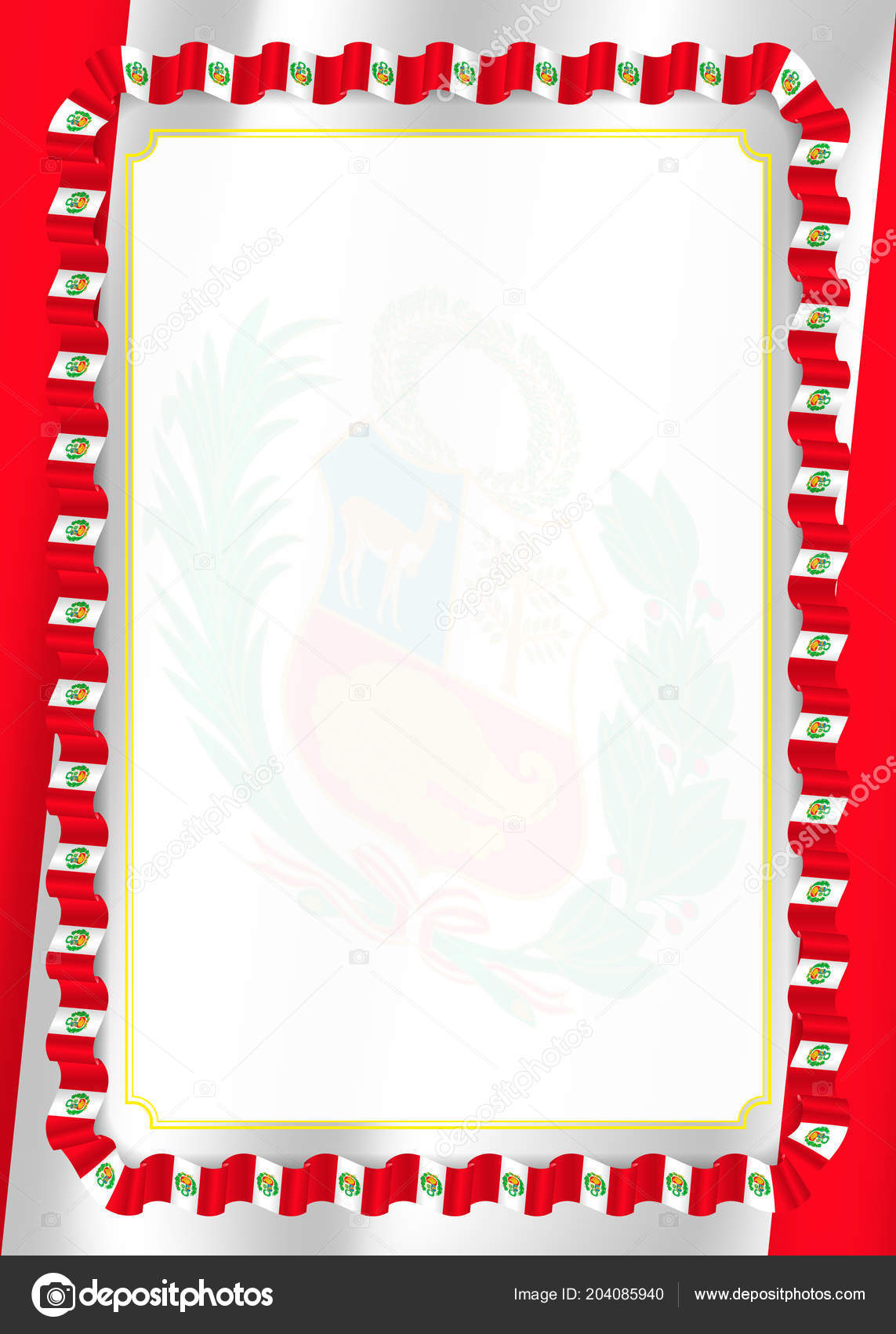 frame border ribbon peru flag template elements your certificate