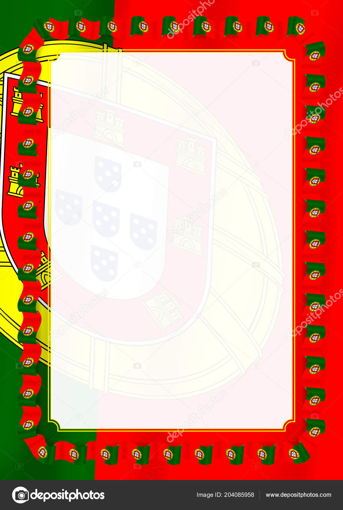 Frame Border Ribbon Portugal Flag Template Elements Your