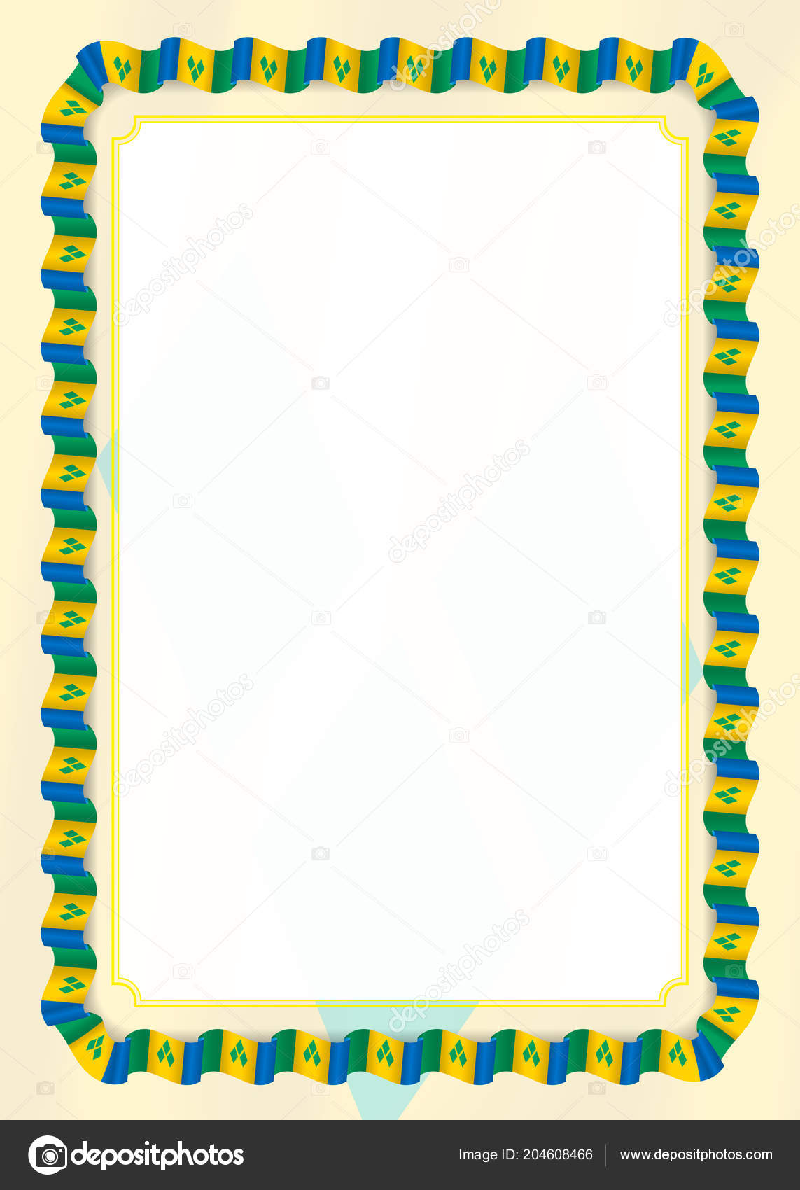 Frame Border Ribbon Saint Vincent Grenadines Flag Template Elements ...