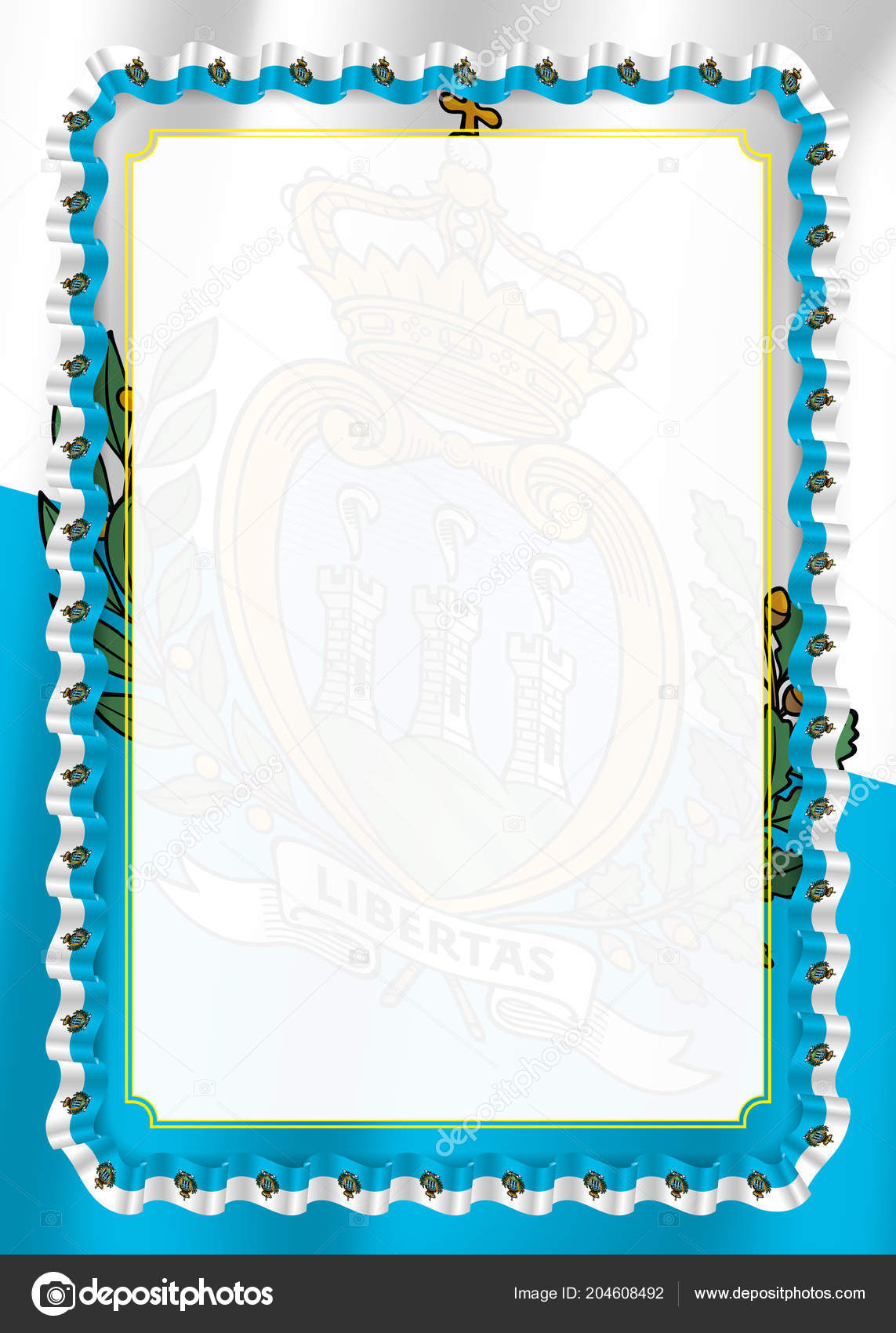 Frame Border Ribbon San Marino Flag Template Elements Your