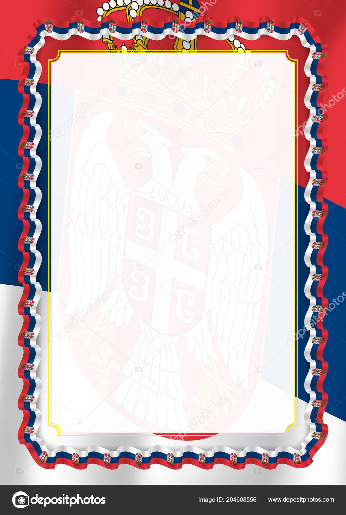 Frame Border Ribbon Serbia Flag Template Elements Your Certificate ...