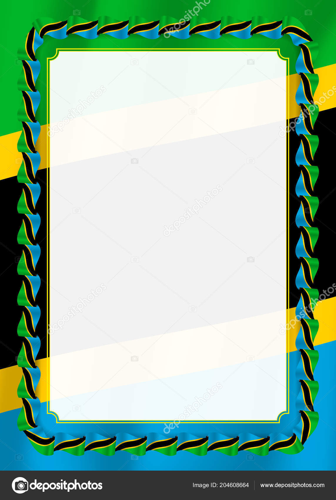 frame border ribbon tanzania flag template elements your certificate