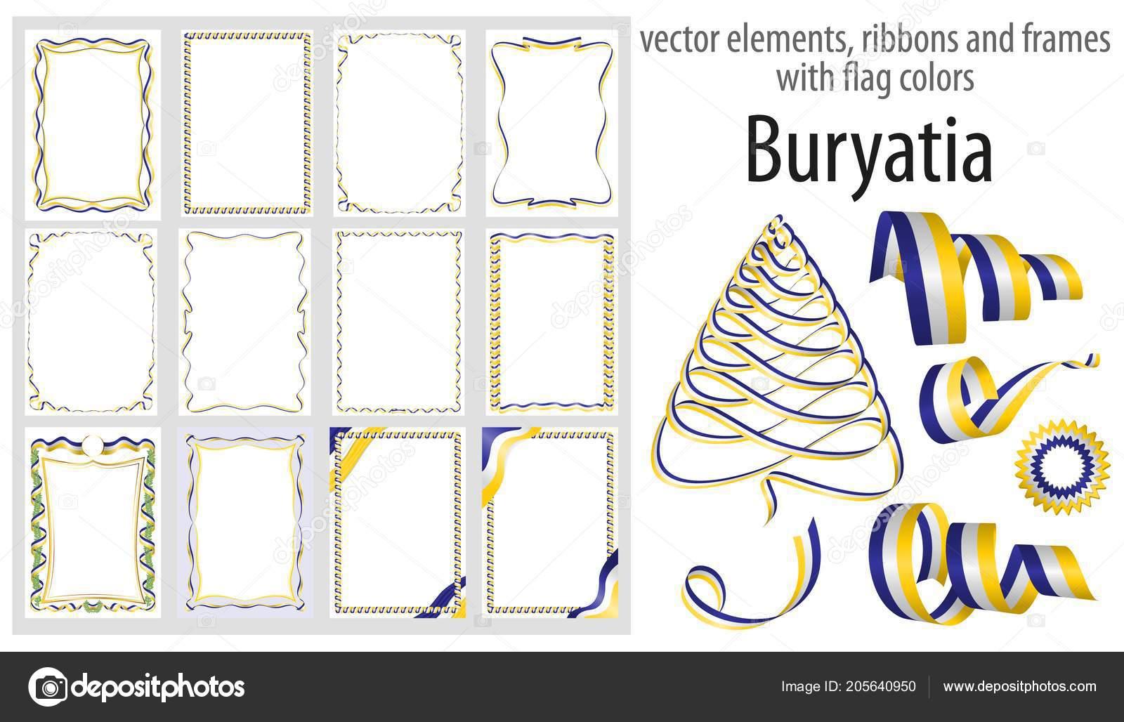 vector elements ribbons frames flag colors buryatia template your