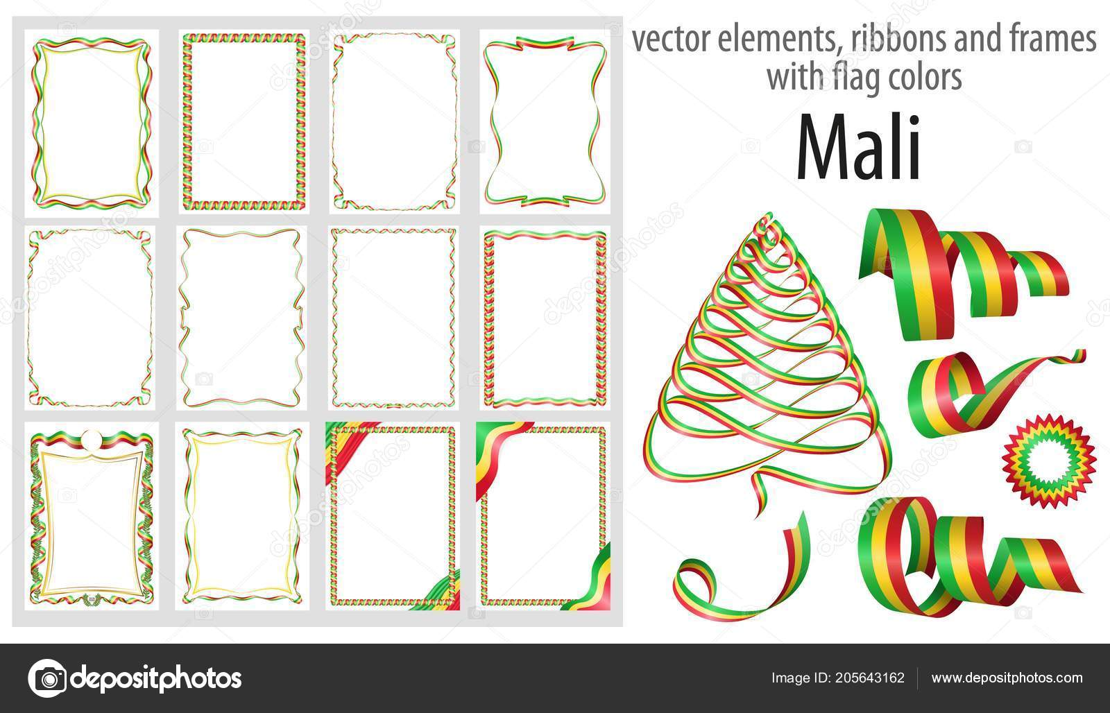 vector elements ribbons frames flag colors mali template your
