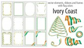 vector elements, ribbons and frames with flag colors Ivory Coast, template for your certificate and diploma.