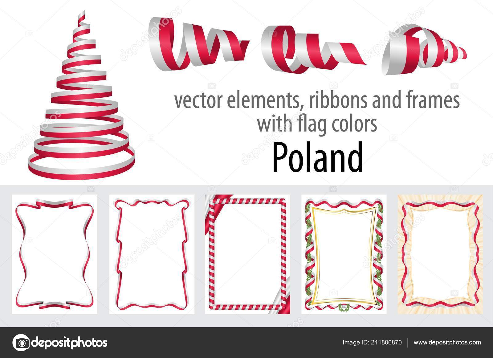 vector elements ribbons frames flag colors poland template your