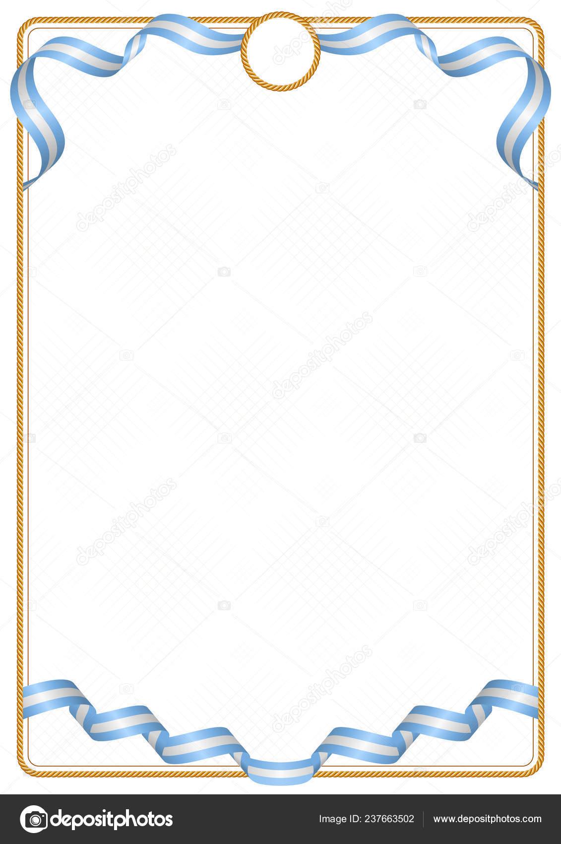 Quadro Borda Fita Com Cores Bandeira Argentina Elementos