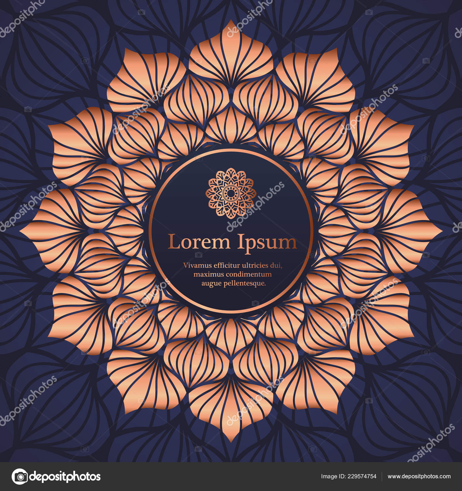 Wedding invitation, thank you card, modern tribal ornament background in deep marine blue and copper color. Vector elegant template — Vector by ...