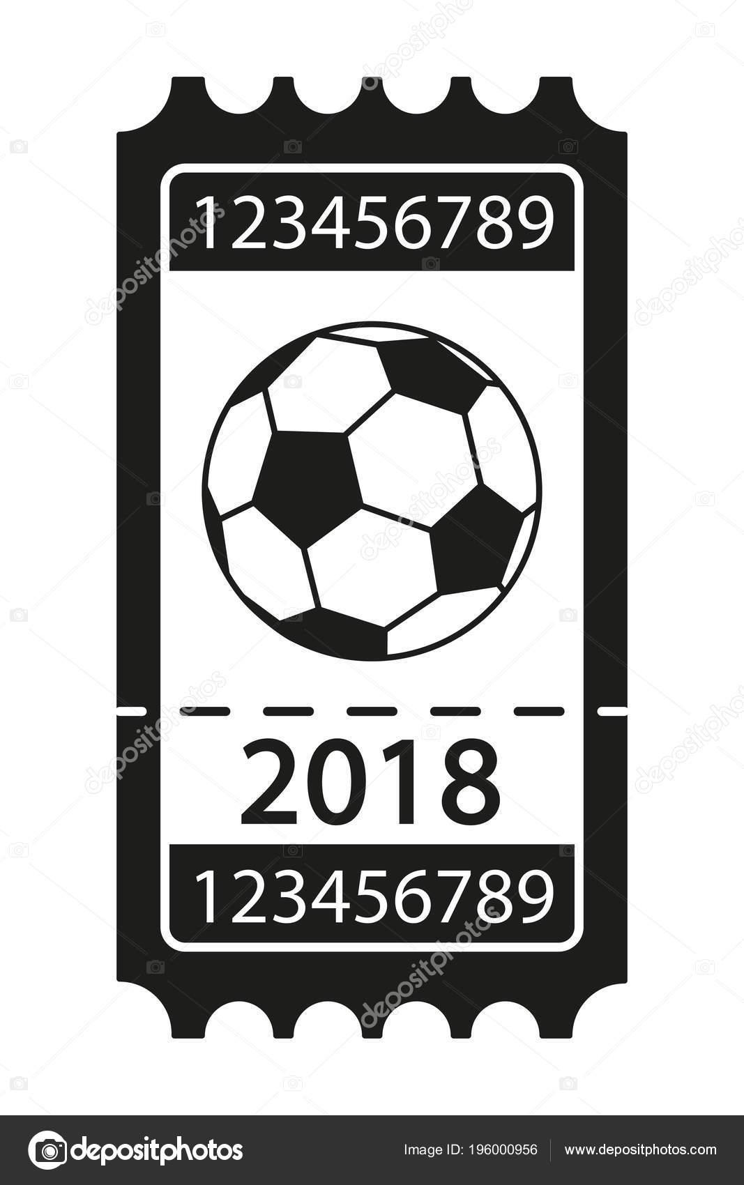 Blanco y negro silueta de billete 2018 de fútbol. Ilustración de vector de  tema deporte para icono a35fd648e1b59
