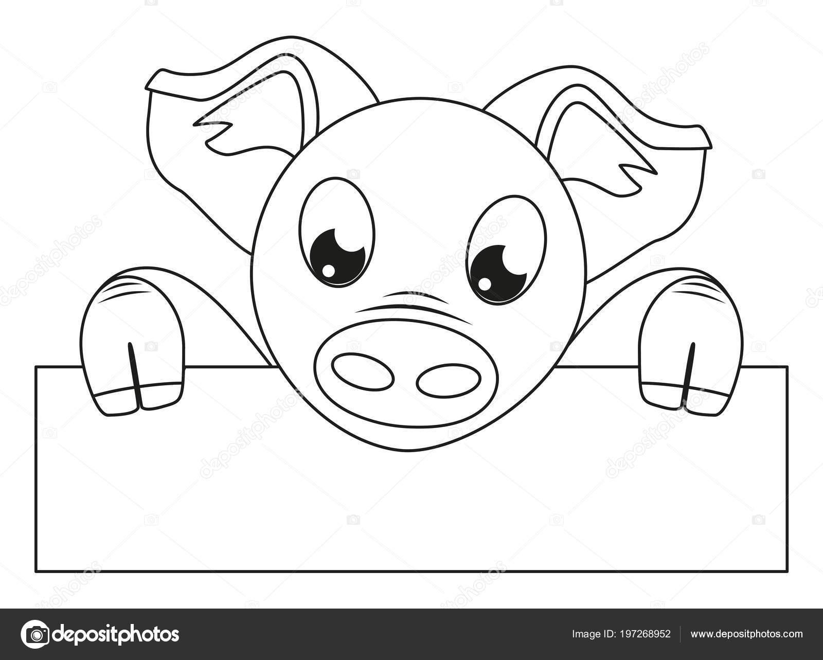 lijn zwart wit varken bedrijf horizontale affiche