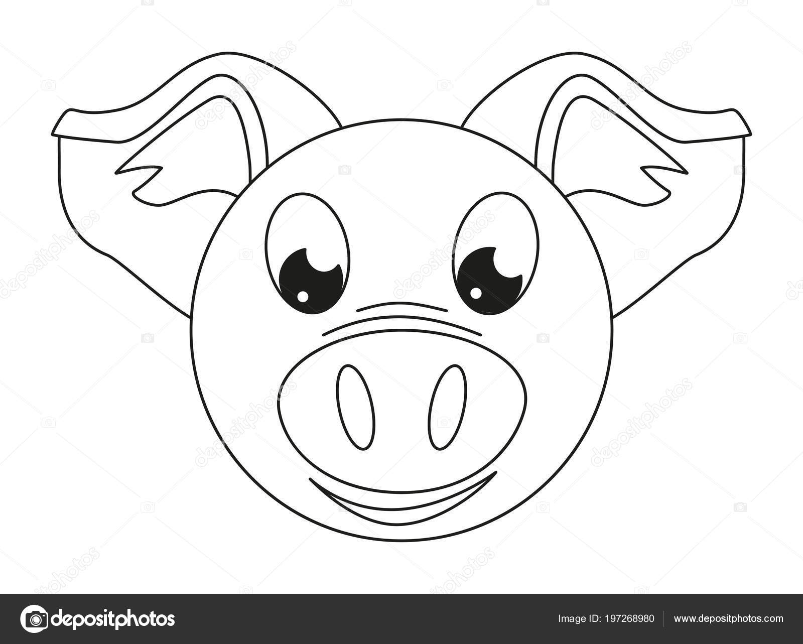 Line Art Black White Pig Face Coloring Page Adults Kids — Stock ...