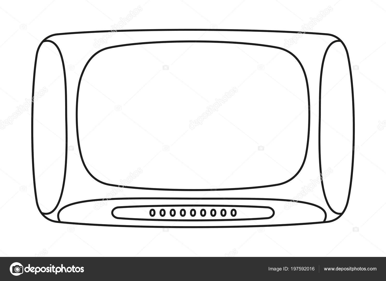 Línea Televisión Vintage Arte Blanco Negro Página Para Colorear Para ...