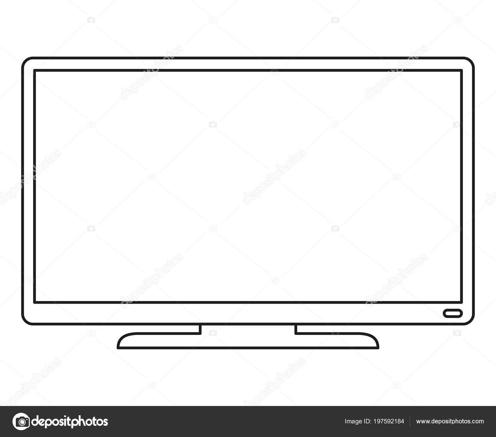 Televisores Modernos Para Colorear Línea Arte Moderno