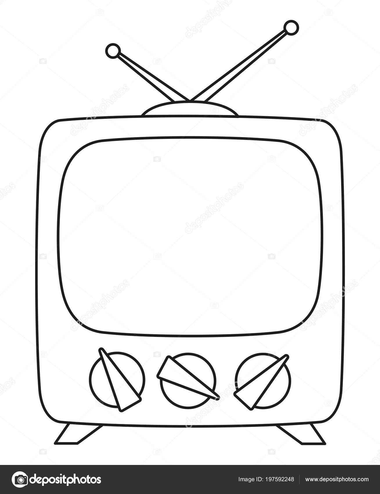 Línea Arte Blanco Negro Televisión Retra Página Para Colorear Para