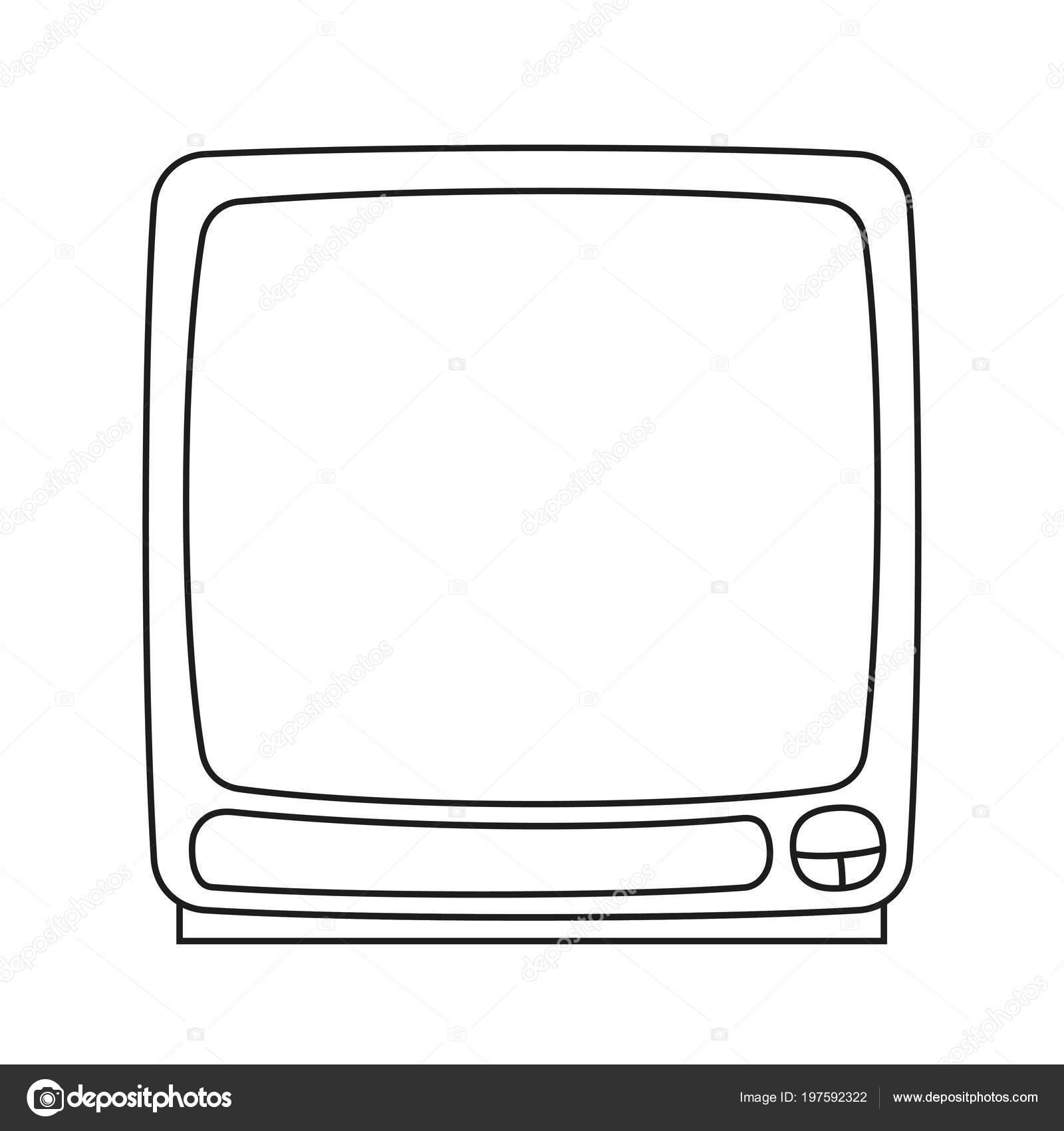 Line Art Siyah Beyaz Eski Televizyon Monitör Yetişkinler çocuklar