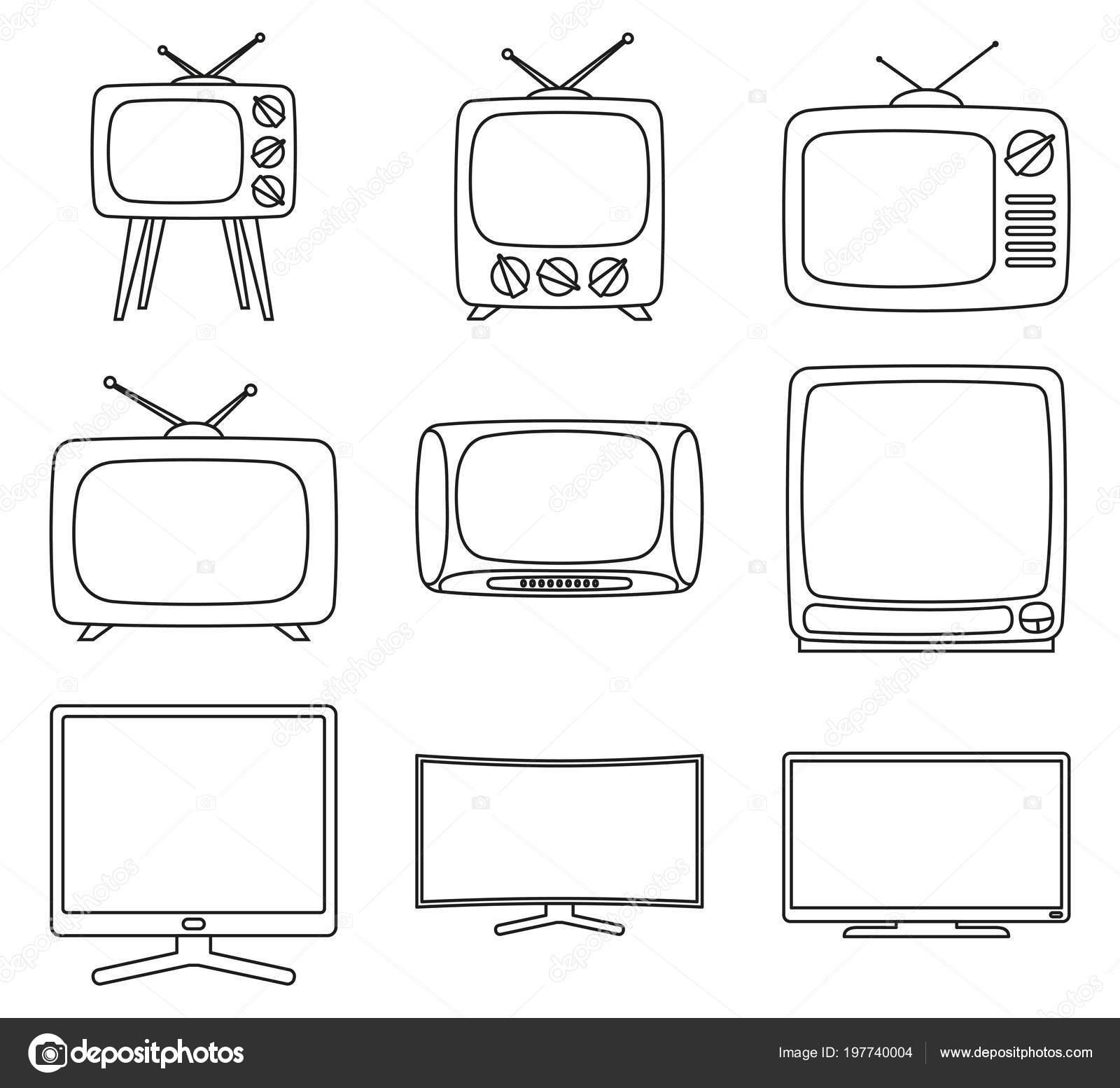 Sanat Siyah Beyaz 9 öğe Tv Kümesi Satır Stok Vektör Bessyana