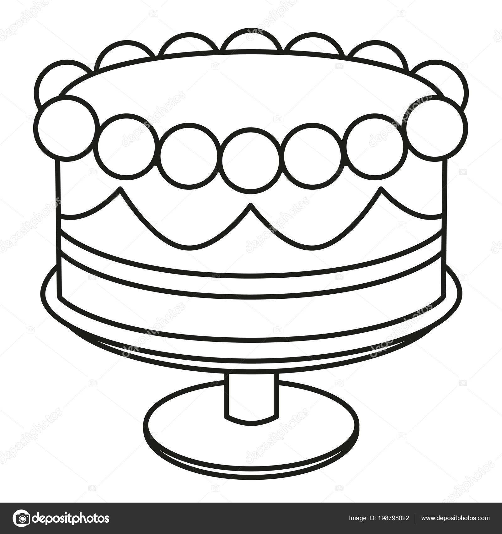 Línea de torta de cumpleaños blanco y negro de arte en soporte ...