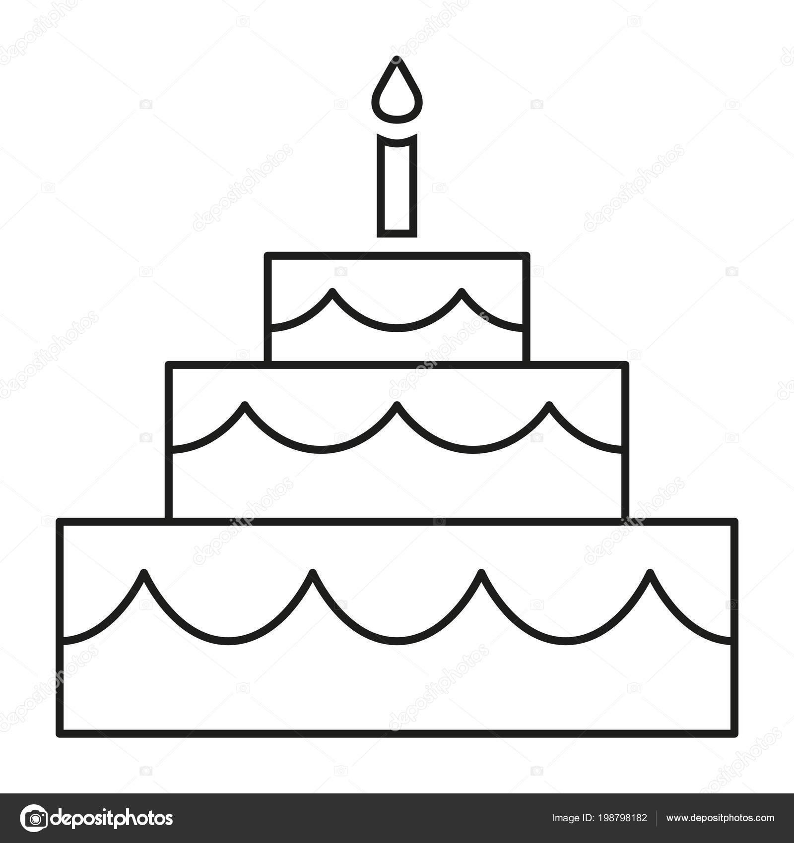 Lijn Kunst Zwart Wit Verjaardagstaart Stockvector C Bessyana