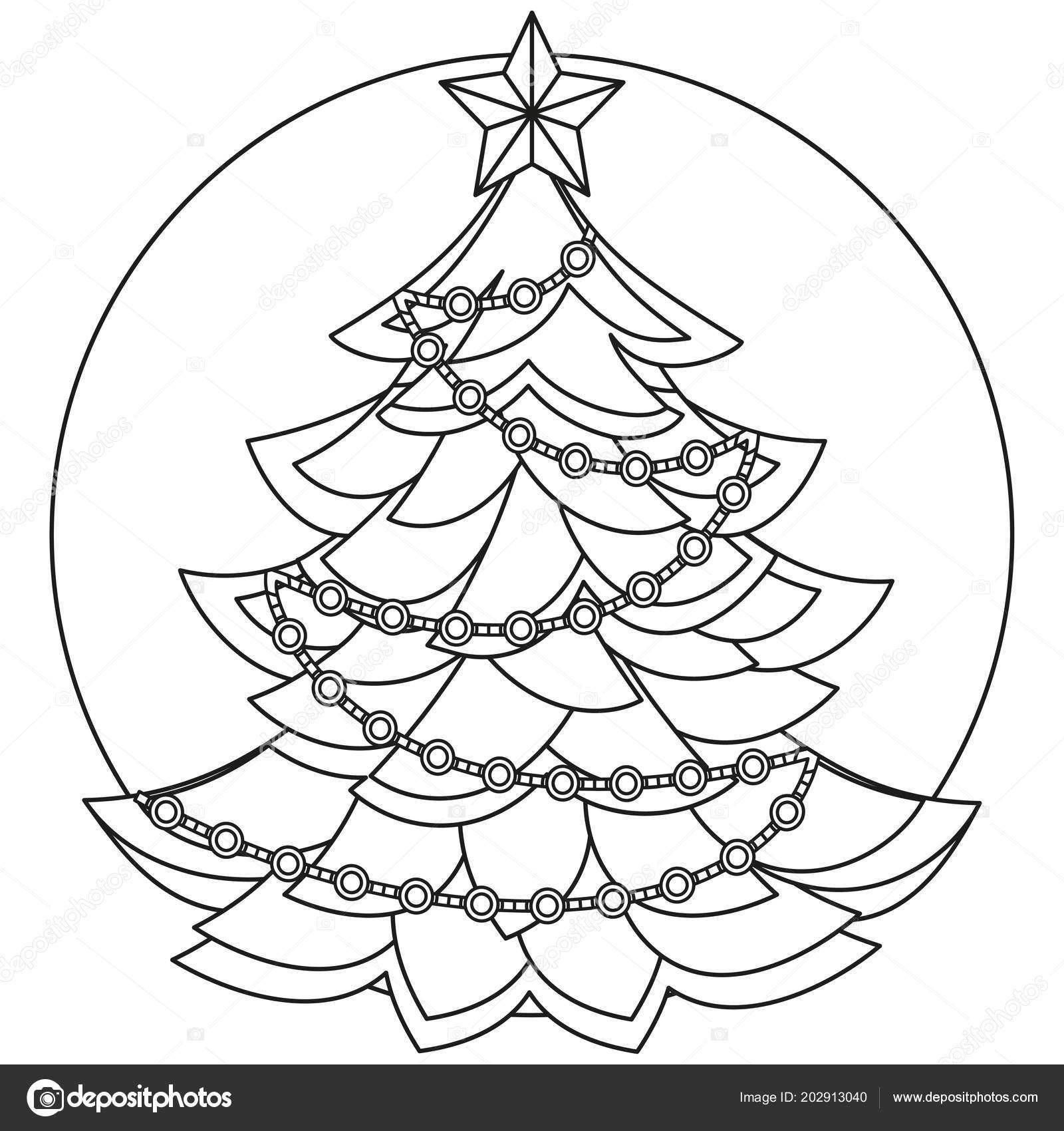 Line Art Black And White Christmas Tree Coloring Book Page