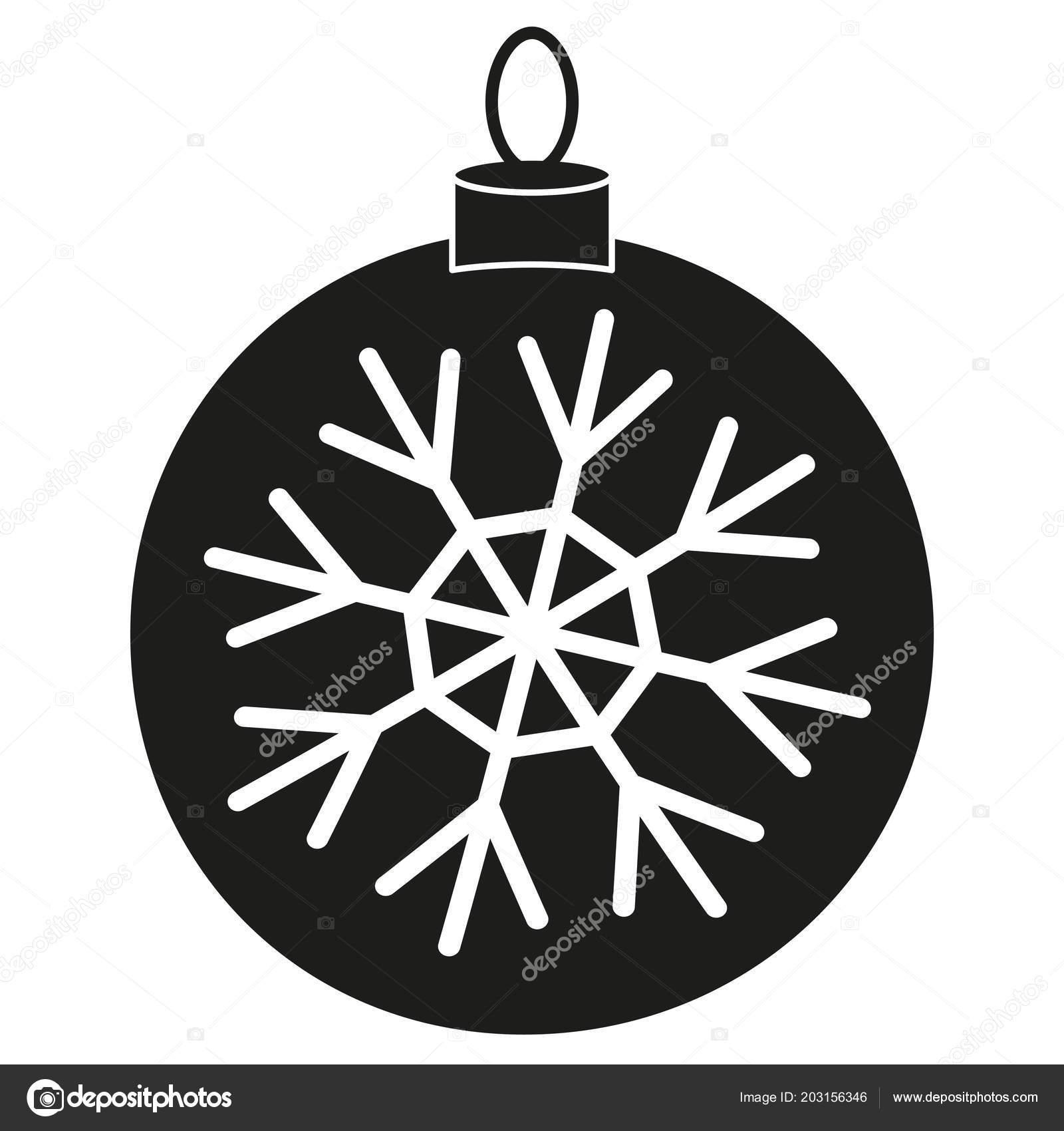 Noir Silhouette Blanc De Flocon De Neige De Boule De Noël