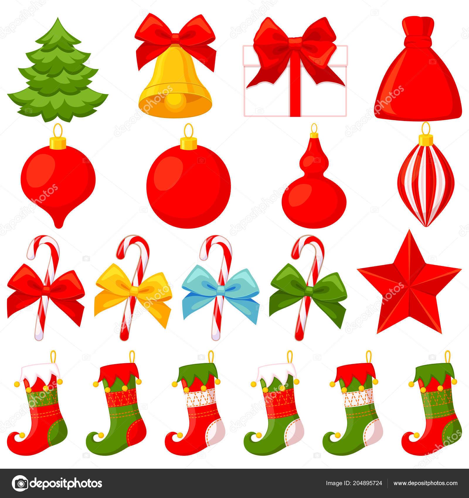 Conjunto Elementos Natal Colorido Dos Desenhos Animados