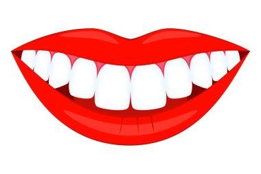 Colorful cartoon healthy smile. Timely dentalcare concept. Dental care vector illustration for icon, sticker, logo, stamp, label, badge, certificate, leaflet or banner decoration